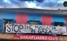 Μπράβο στους «Σακαφλιάδες» του ΑΟΤ: Πανό υπέρ της Γάζας