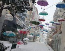Μεγάλη ζημιά στις ομπρέλες της οδού Απόλλωνος
