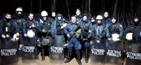 Στην πρώτη γραμμή  η διμοιρία Τρικαλινών αστυνομικών, στα σύνορα
