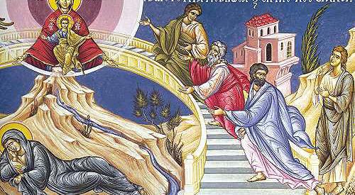 Οι χαιρετισμοί της Παναγίας στο παρεκκλήσιο της Αγίας Ειρήνης