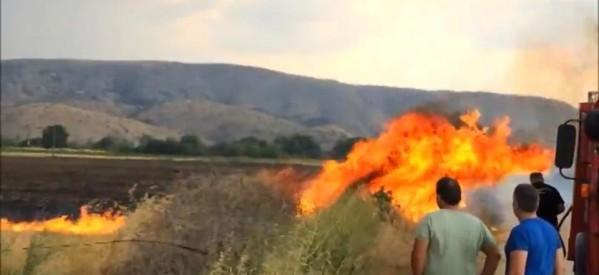 Φωτιά έθεσε σε κίνδυνο το νεκροταφείο της Κρήνης