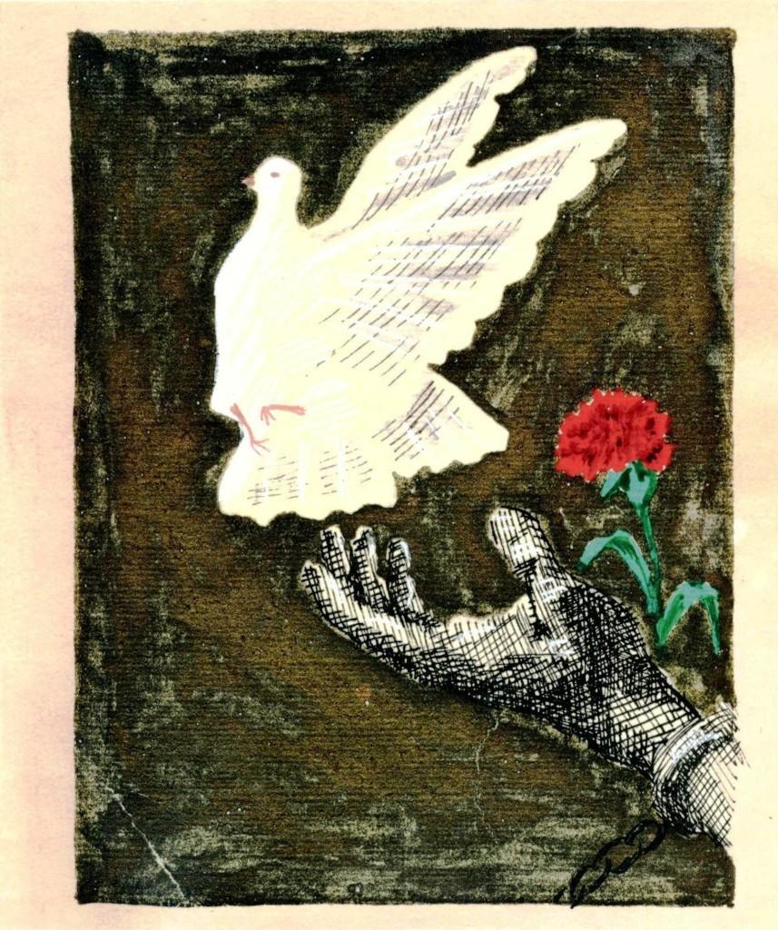 Ευχετήρια κάρτα ΚΚΕ-Φιλοτέχνημα πολιτικού κρατούμενου στις Φυλακές Τρικάλων το 1953