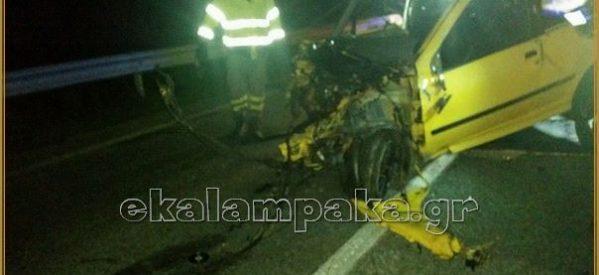 Σφοδρότατη σύγκρουση ΙΧ στην Ε.Ο. Καλαμπάκας-Τρικάλων – Βαριά τραυματισμένοι οι δύο οδηγοί [φώτος]