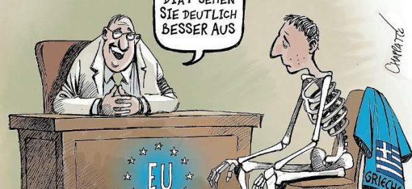 Η ανατριχιαστική γελοιογραφία του Der Spiegel για το τέλος των ελληνικών προγραμμάτων