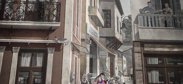 Ο Τσιτσάνης στο μπαλκόνι – Η τοιχογραφία είναι μοναδική στα Τρίκαλα αλλά και στην Ελλάδα.
