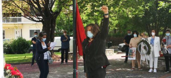 """Εκπρόσωποι εργατικών σωματείων, κατέθεσαν στεφάνια στην πλατεία """"εργατικής πρωτομαγιάς"""""""